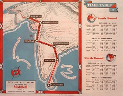 Tata Sons' Airline Timetable Image, (c. Summer 1935.)