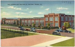 A postcard showing the Caterpillar Tractor Co. plant in Peoria, period 1930–1945.
