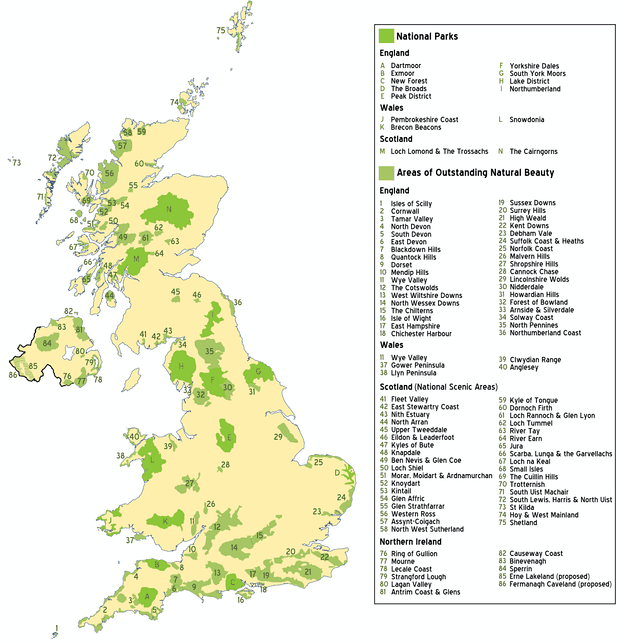 National Parks, Areas of Outstanding Natural Beauty and National Scenic Areas in the UK as at 2010 (before the creation of the South Downs National Park and its replacement of the East Hampshire and Sussex Downs AONBs amongst other changes)[dubious  – discuss]