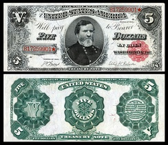 Memorialized on the 1890 $5 Treasury Note, and one of 53 people depicted on United States banknotes