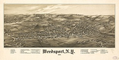 Perspective map of Weedsport and list of landmarks from 1885 by L.R. Burleigh