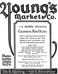 Newspaper advertisement featuring Sylmar olives, 1920