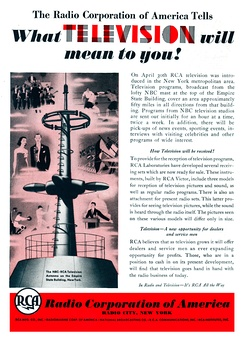 "RCA ad for the beginning, in April 1939, of regular experimental TV broadcasting by RCA-NBC over New York City station W2XBS (forerunner of today's WNBC/4), for ""an hour at a time, twice a week.""[35]"
