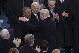 Obama, with Joe Biden and Donald Trump at the latter's inauguration on January 20, 2017