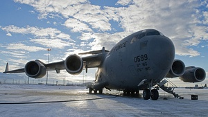 A U.S. Air Force C-17 Globemaster III aircraft attached to the 517th Airlift Squadron undergoes preflight checks at Joint Base Elmendorf-Richardson, Alaska, before participating in Operation Damayan Nov. 13 131113-F-NZ143-006.jpg