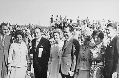 From left to right: Spiro and Judy Agnew, Bob and Dolores Hope, Richard and Pat Nixon, Nancy and Ronald Reagan during a campaign stop for the Nixon-Agnew ticket in California, 1971