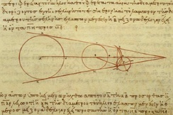 Aristarchus's 3rd century BC calculations on the relative sizes of the Earth, Sun and Moon, from a 10th-century CE Greek copy