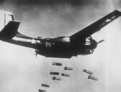 A B-26C Invader on a bombing run over Korea.