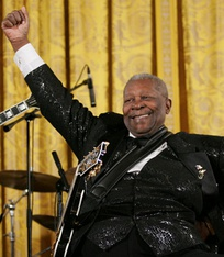 "Blues legend B.B. King with his guitar, ""Lucille"""