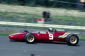 Lorenzo Bandini in his Ferrari on his way to sixth place.