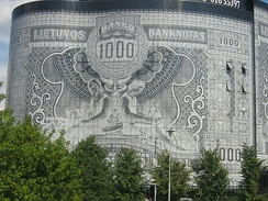 Business centre decorated with a 1000 Lithuanian litas banknote design