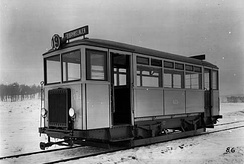 The only petrol-driven tram of Stockholms Spårvägar, on line 19, in the 1920s.
