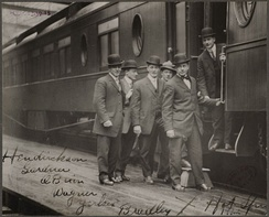 Boston Red Sox players in Hot Springs, Arkansas for spring training, left to right: Olaf Hendrikson, Larry Gardner, Buck O'Brien, Heinie Wagner, Steve Yerkes and Hugh Bradley boarding train