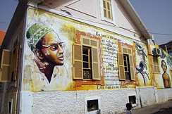 Mural on the wall of the Amílcar Cabral Foundation offices in Praia, Cape Verde.
