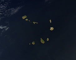 A satellite photo of the Cape Verde islands, 2010