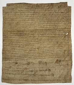 The charter of Clotilde, 10 March 673, endowing the monastery of Bruyères-le-Châtel; witnessed by Agilbert, this is his last appearance in year-dated records