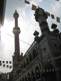 Old mosque with flags
