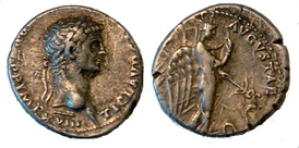 Claudius issued this denarius type to emphasize his clemency after Caligula's assassination. The depiction of the goddess Pax-Nemesis, representing subdued vengeance, would be used on the coins of many later emperors. Caption: TI. CLAVD. CAESAR. AVG. P. M., TR. P. X. P. P., IMP. XVIII / PACI AVGVSTAE Pax-Nemesis standing right holding caduceus over serpent.