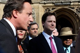 Cameron in 2009 as Leader of the Opposition, with Lib Dem leader Nick Clegg, who later became Deputy Prime Minister of the United Kingdom, and Lib Dem spokesman Chris Huhne