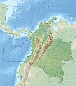 Location of major volcanoes in Colombia