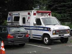 Retired ambulances may find reuse in less-demanding emergency services, such as this Ford E-Series former ambulance that has become a logistics unit.