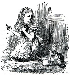 Dinah, Alice's cat, in an illustration from Through the Looking-Glass