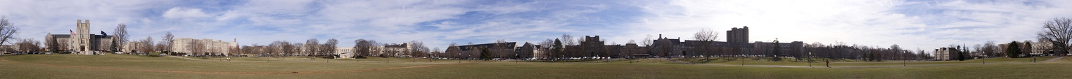 Panoramic view of Virginia Tech's Drillfield