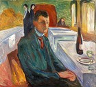 Self-Portrait with a Bottle of Wine, 1906, 110 cm × 120 cm (43 1⁄4 in × 47 1⁄4 in), Munch Museum, Oslo
