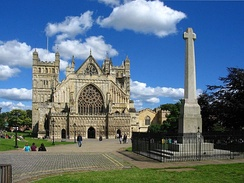 Exeter Cathedral and the Devon County War Memorial