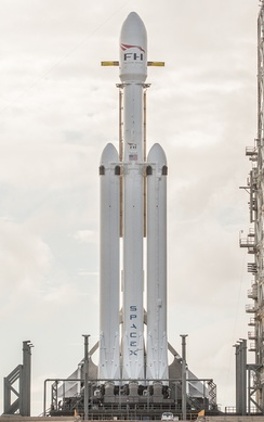 Falcon Heavy Rocket on Launch Pad 39-A in Cape Canaveral, Florida