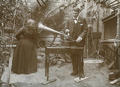 Horace Watson recording the songs of Fanny Cochrane Smith, considered to be the last fluent speaker of a Tasmanian language, 1903. Folk-singer Bruce Watson, descendant of Watson, composed a song about this picture and later performed it with singer Ronnie Summers, a descendant of Smith.