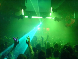 Laser lights illuminate the dance floor at a Gatecrasher dance music event in Sheffield, England