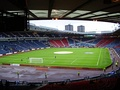 The Flag of Scotland seating design at Hampden Park Stadium; the national stadium of Football in Scotland.