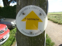 A Hampshire County Council footpath waymark.