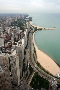 Looking north, Oak Street Beach (bottom right) and North Ave Beach viewed from above