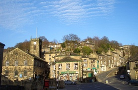 Holmfirth centre showing the parish church