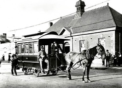 A horse-drawn tram in Sydney, 1894. The city saw Australia's first tram service open in 1860.