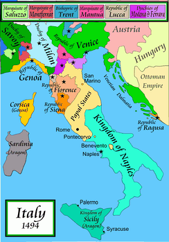 A political map of the Italian Peninsula circa 1494