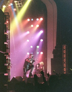 Judas Priest performing in 1981, during their World Wide Blitz Tour.