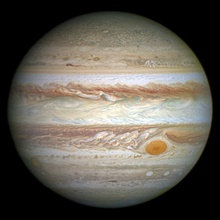 An image of Jupiter taken by NASA's Hubble Space Telescope