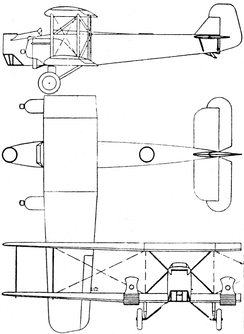 Keystone XLB-5 3-view drawing from L'Air February 15,1928
