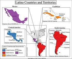 The Latin American countries from which Latinos descend