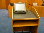 A lectern in a US District Courthouse, similar to those found in academic lecture theatres