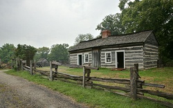 The reconstructed Lincoln family cabin