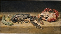 Lobster, Crab, and a Cucumber by William Henry Hunt (watercolour, 1826 or 1827)