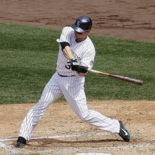 Morneau batting with the Colorado Rockies