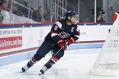 Photograph of Meghan Duggan, captain of the USA Women's National Hockey team at IIHF World Championships in 2017.