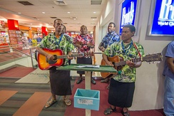Fijian music band at arrivals hall of Nadi International airport
