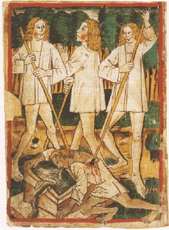 The death of Siegfried. Nibelungenlied manuscript-k.