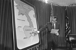 Nixon delivers an address to the nation about the bombings in Cambodia, April 30, 1969